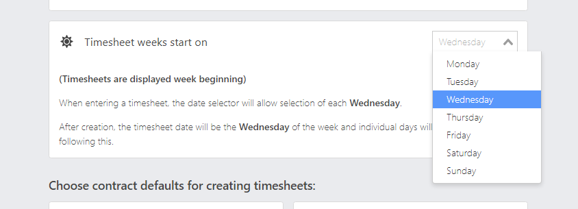 Change start date of timesheets